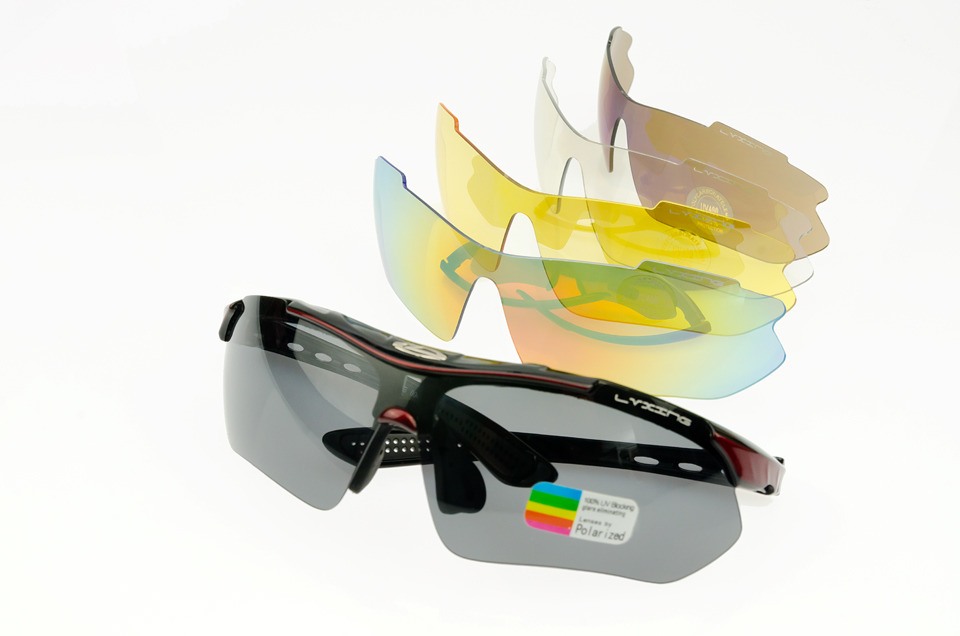 Okulary sportowe LVXING. - czarno-czerwone